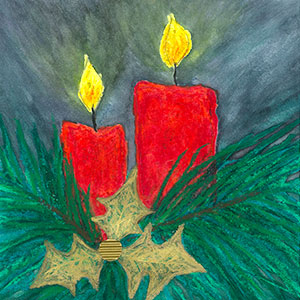 collage christmas holly and candles art christmas cards creation art cards - Art Christmas Cards