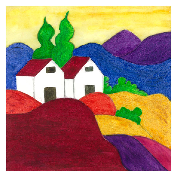 Italian Tuscany Landscape Painting - Creation Art Card Project for Schools