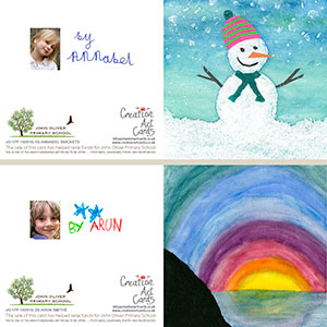 School Christmas Cards - Fundraising Personalised Art Card - No Sample